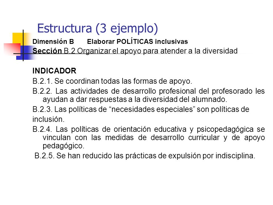 Estructura (3 ejemplo)Dimensión B Elaborar POLÍTICAS inclusivas. Sección B.2 Organizar el apoyo para atender a la diversidad.
