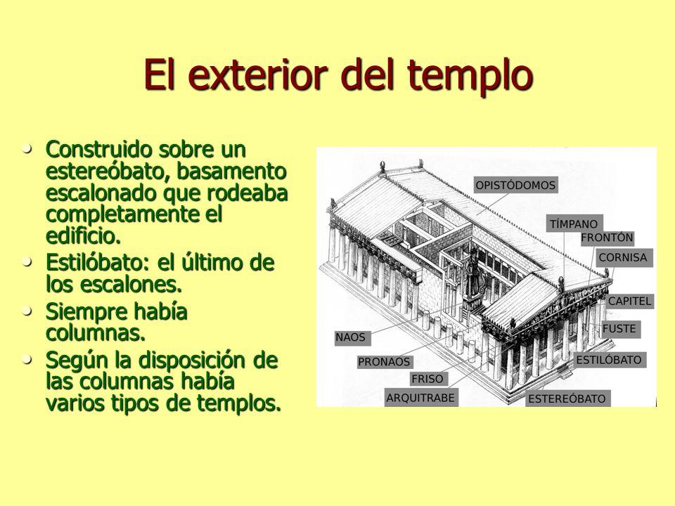 El exterior del templo Construido sobre un estereóbato, basamento escalonado que rodeaba completamente el edificio.
