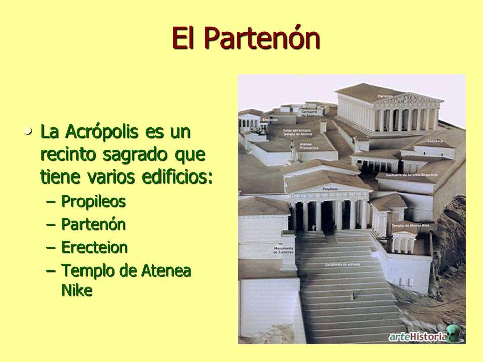 El Partenón La Acrópolis es un recinto sagrado que tiene varios edificios: Propileos. Partenón. Erecteion.
