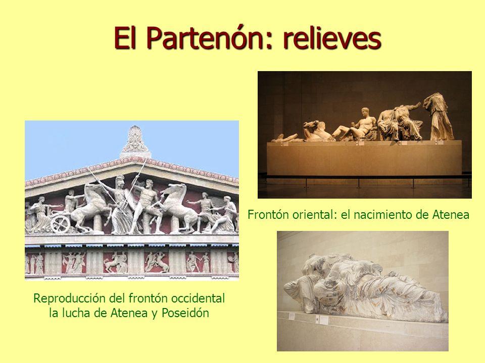 El Partenón: relieves Frontón oriental: el nacimiento de Atenea