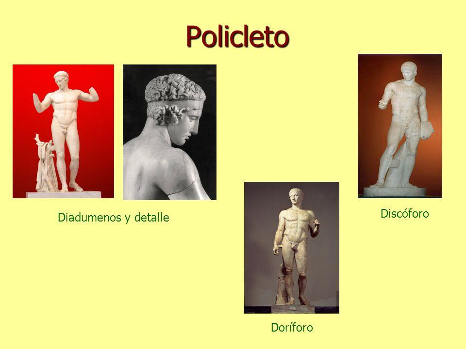 Policleto Discóforo Diadumenos y detalle Doríforo