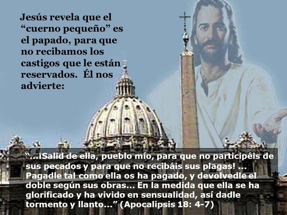 Jesús revela que el cuerno pequeño es el papado, para que no recibamos los castigos que le están reservados. Él nos advierte: