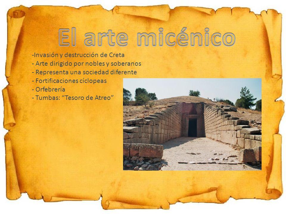 El arte micénico Invasión y destrucción de Creta