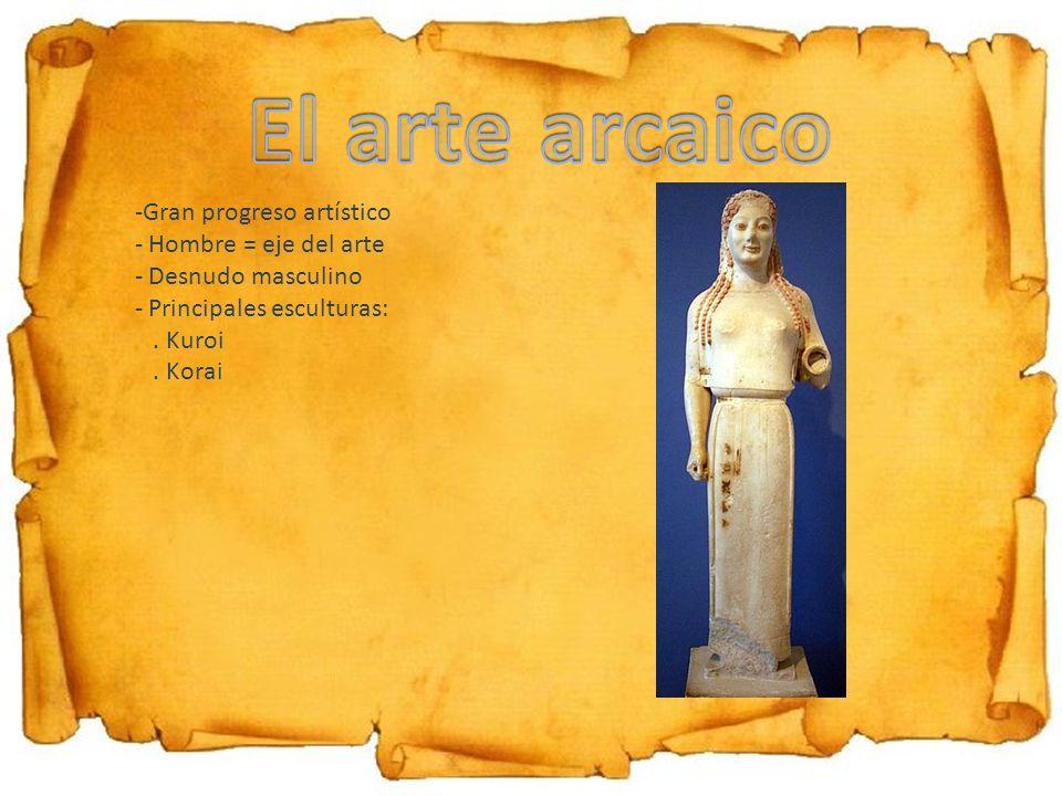 El arte arcaico Gran progreso artístico Hombre = eje del arte