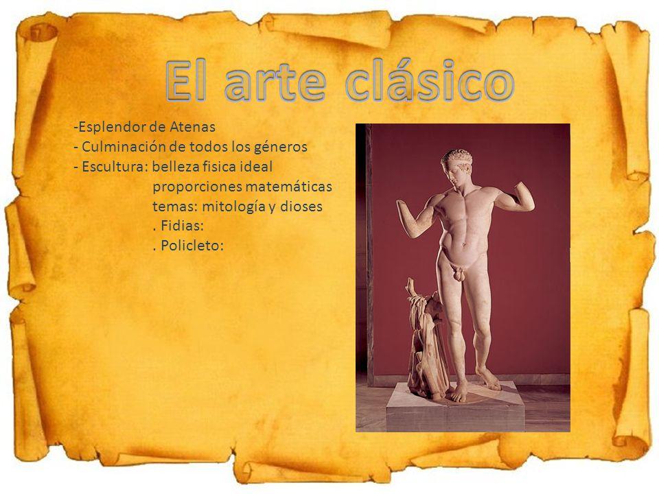 El arte clásico Esplendor de Atenas Culminación de todos los géneros