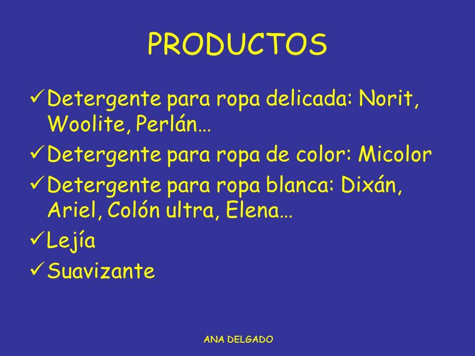 PRODUCTOS Detergente para ropa delicada: Norit, Woolite, Perlán…