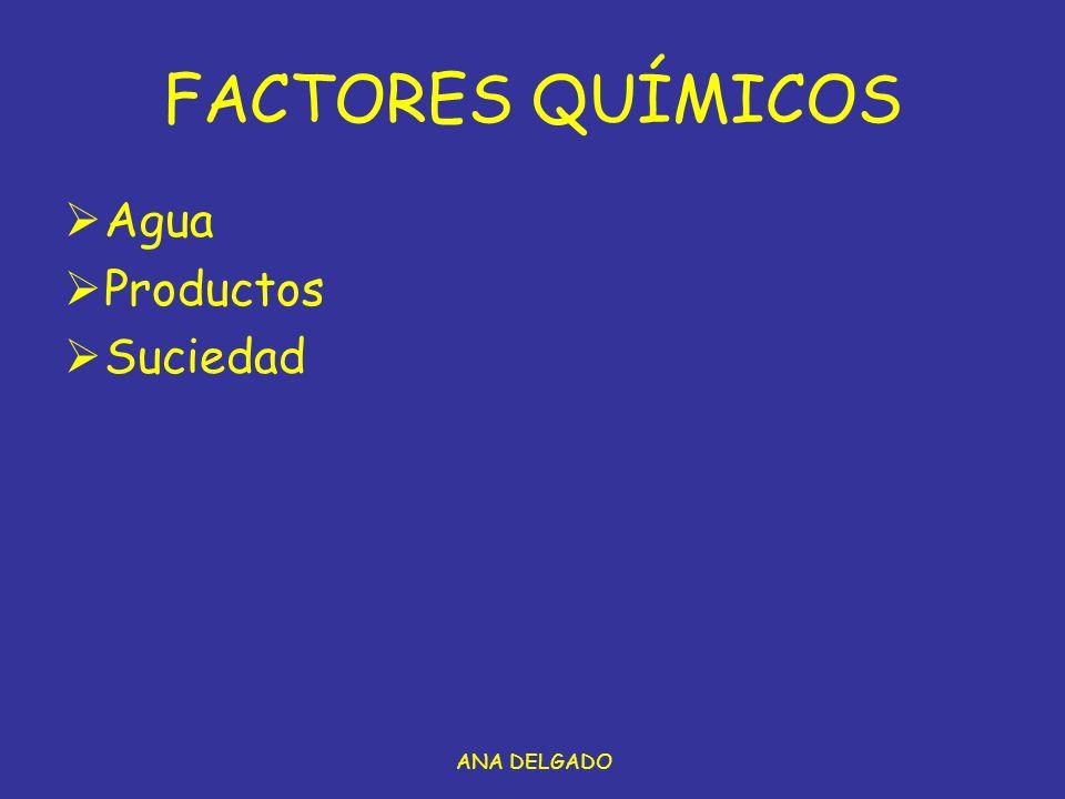 FACTORES QUÍMICOS Agua Productos Suciedad ANA DELGADO