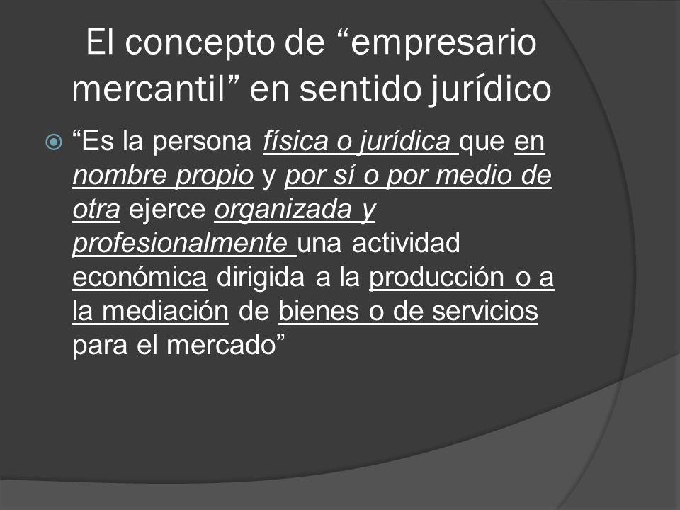El concepto de empresario mercantil en sentido jurídico