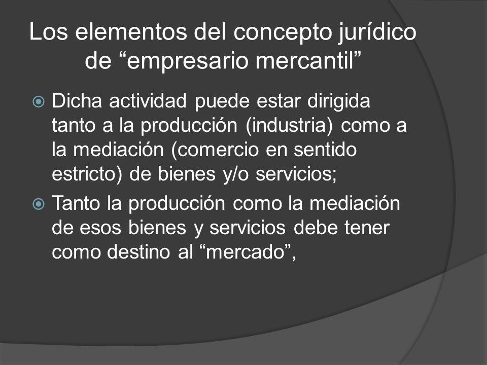Los elementos del concepto jurídico de empresario mercantil