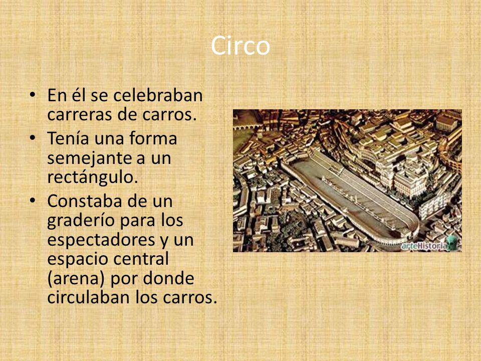Circo En él se celebraban carreras de carros.