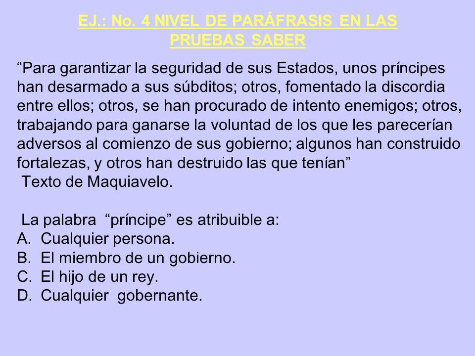 EJ.: No. 4 NIVEL DE PARÁFRASIS EN LAS PRUEBAS SABER