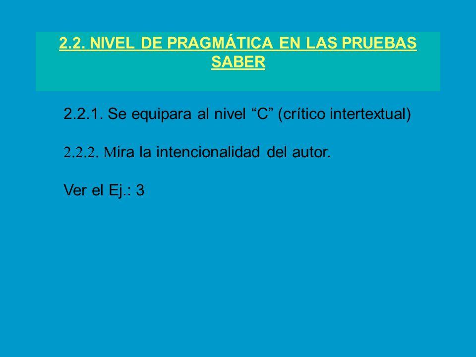 2.2. NIVEL DE PRAGMÁTICA EN LAS PRUEBAS SABER