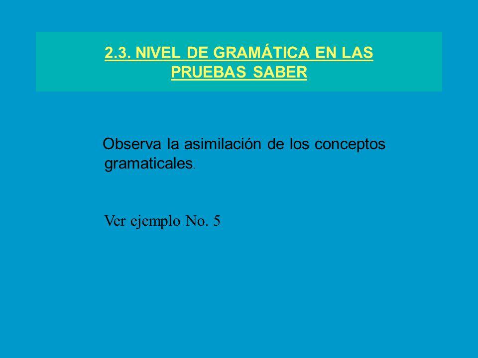 2.3. NIVEL DE GRAMÁTICA EN LAS PRUEBAS SABER