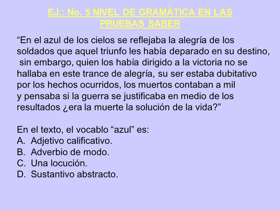 EJ.: No. 5 NIVEL DE GRAMÁTICA EN LAS PRUEBAS SABER