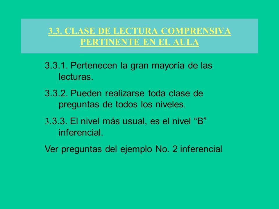3.3. CLASE DE LECTURA COMPRENSIVA PERTINENTE EN EL AULA