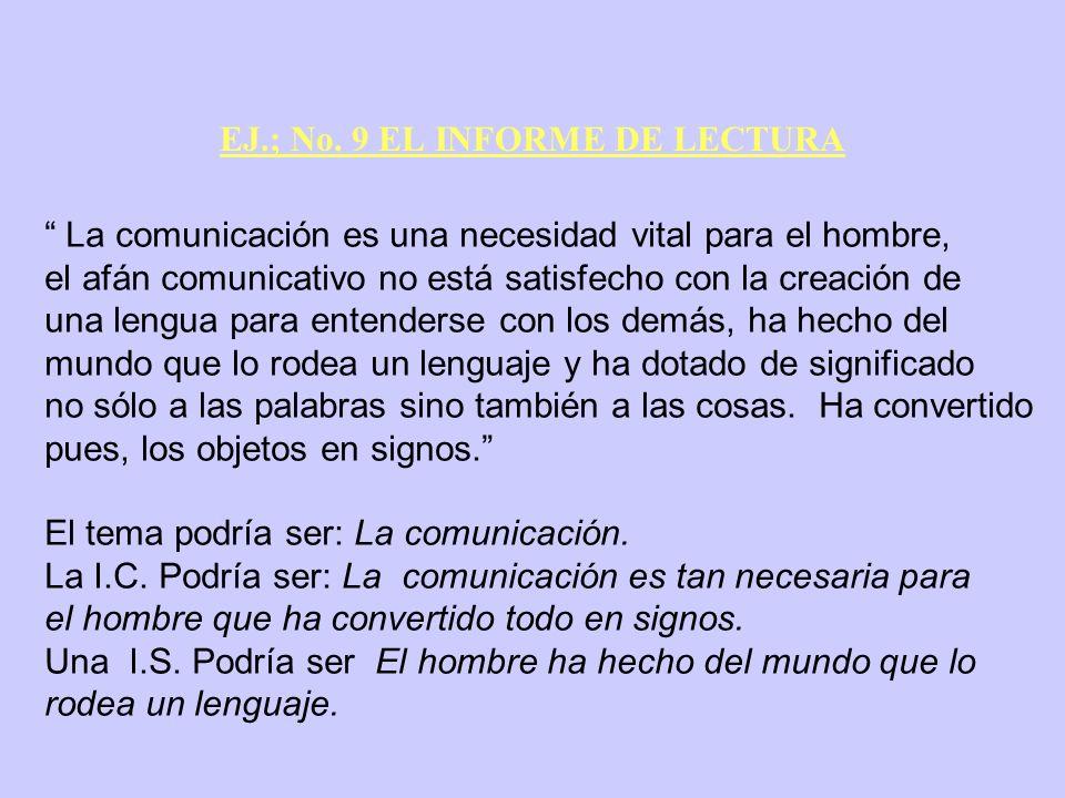 EJ.; No. 9 EL INFORME DE LECTURA