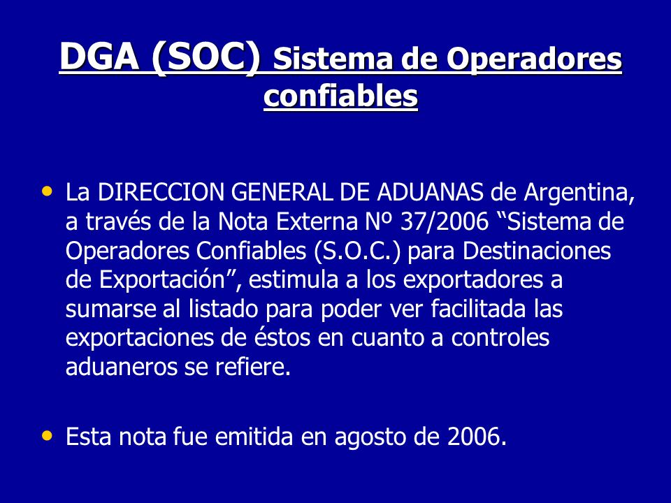 DGA (SOC) Sistema de Operadores confiables