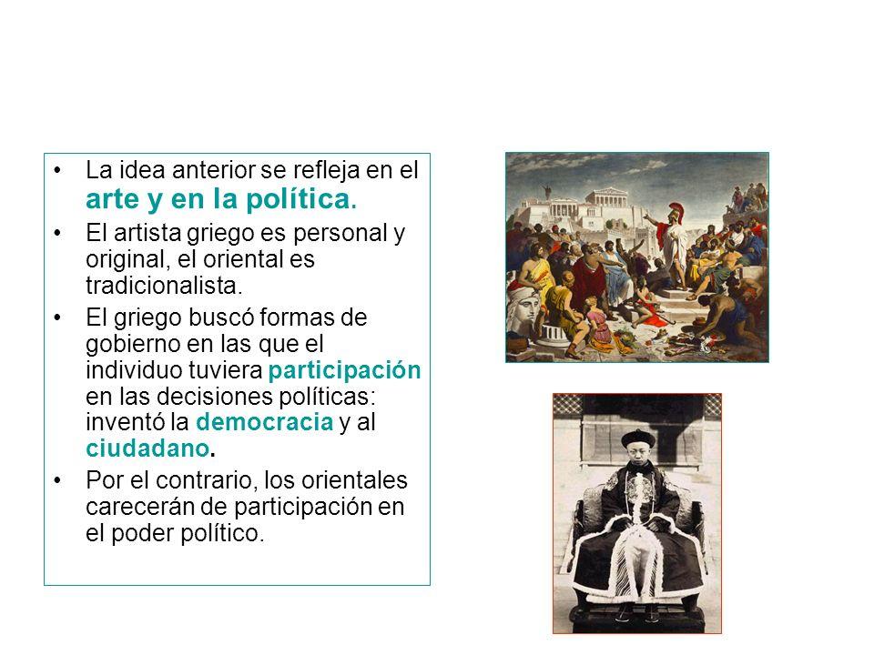 La idea anterior se refleja en el arte y en la política.