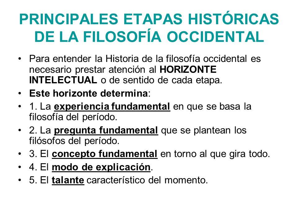 PRINCIPALES ETAPAS HISTÓRICAS DE LA FILOSOFÍA OCCIDENTAL