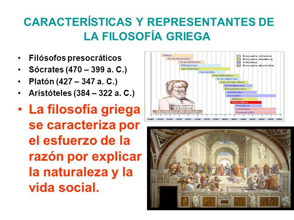 CARACTERÍSTICAS Y REPRESENTANTES DE LA FILOSOFÍA GRIEGA
