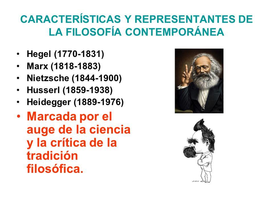 CARACTERÍSTICAS Y REPRESENTANTES DE LA FILOSOFÍA CONTEMPORÁNEA