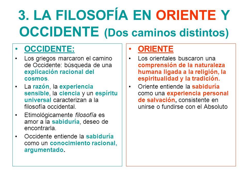 3. LA FILOSOFÍA EN ORIENTE Y OCCIDENTE (Dos caminos distintos)