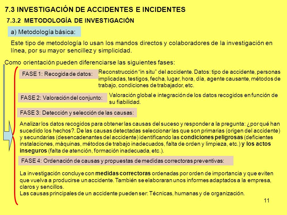 7.3 INVESTIGACIÓN DE ACCIDENTES E INCIDENTES