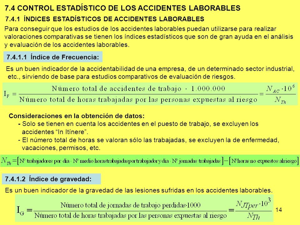 7.4 CONTROL ESTADÍSTICO DE LOS ACCIDENTES LABORABLES