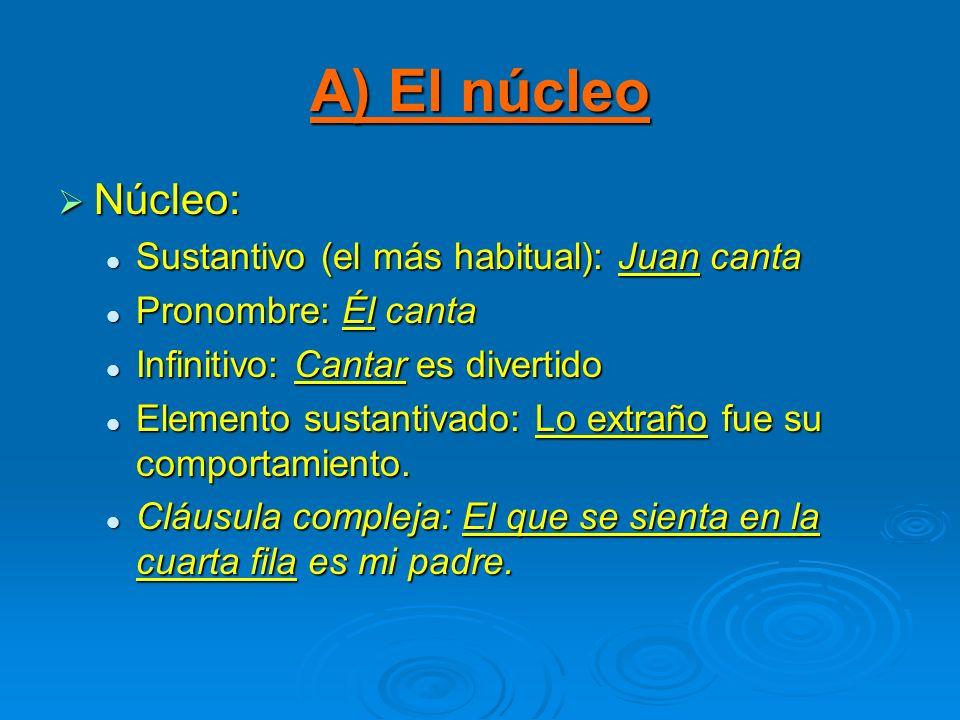 A) El núcleo Núcleo: Sustantivo (el más habitual): Juan canta