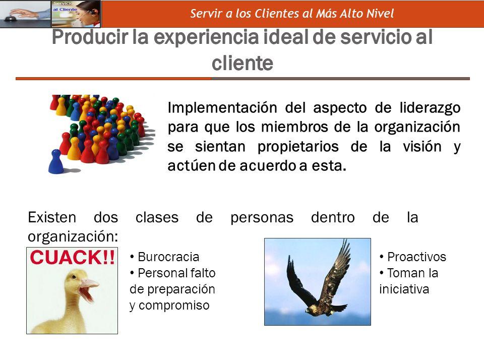 Producir la experiencia ideal de servicio al cliente