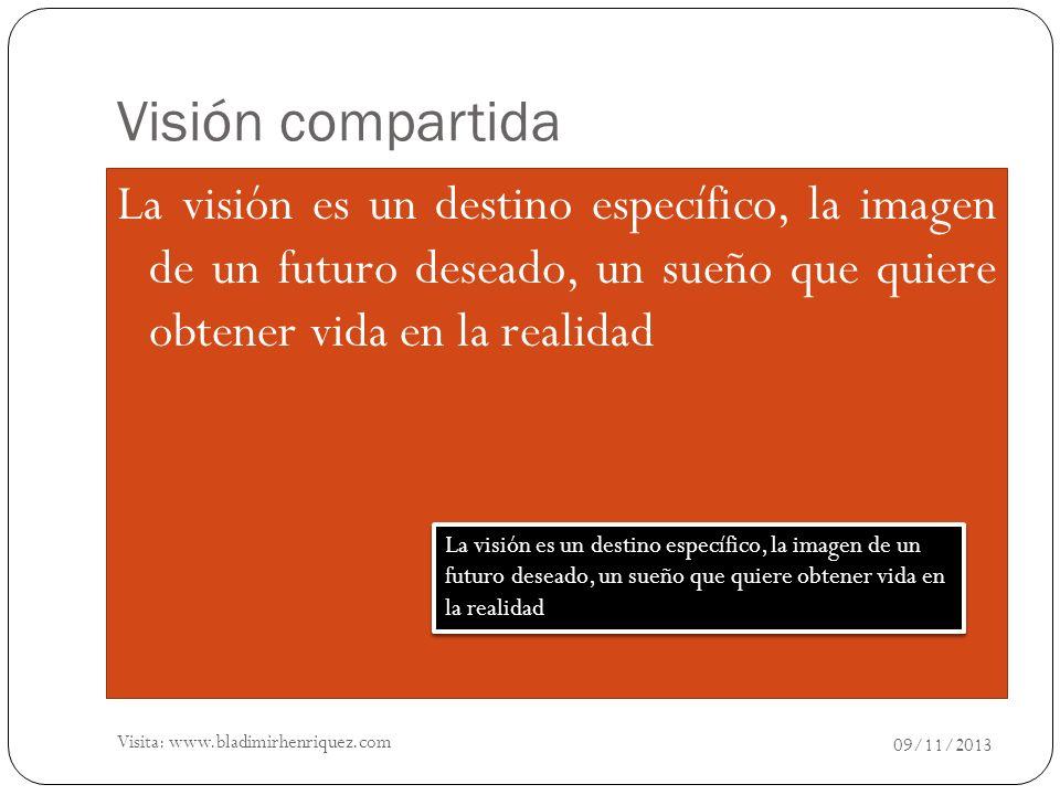 Visión compartida La visión es un destino específico, la imagen de un futuro deseado, un sueño que quiere obtener vida en la realidad.