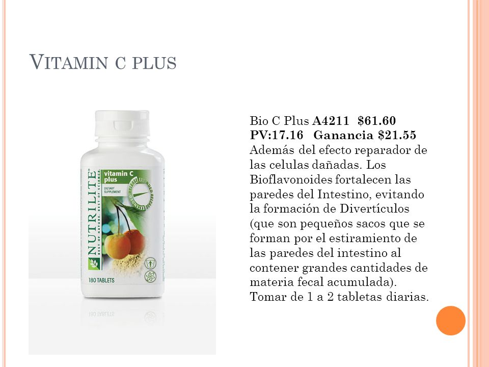 Vitamin c plus Bio C Plus A4211 $61.60 PV:17.16 Ganancia $21.55