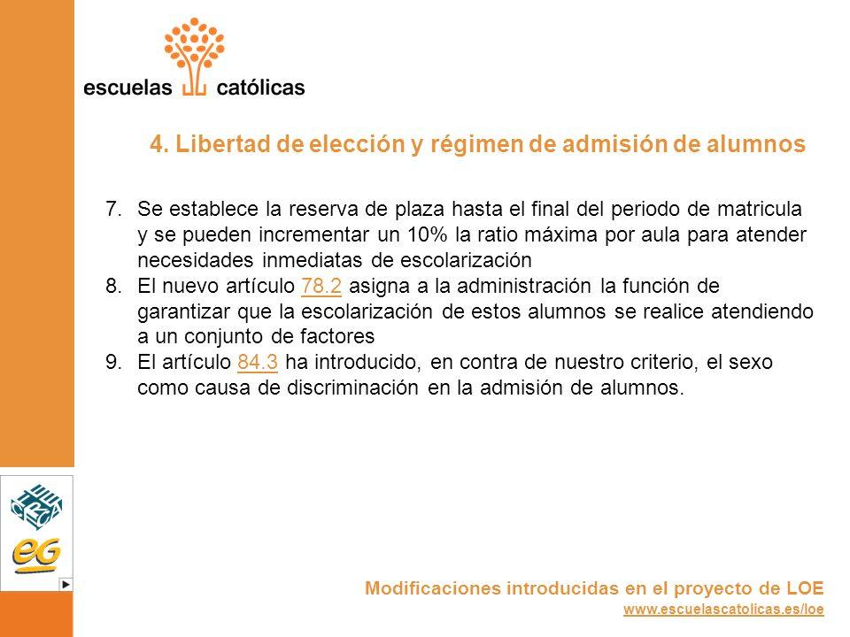 4. Libertad de elección y régimen de admisión de alumnos