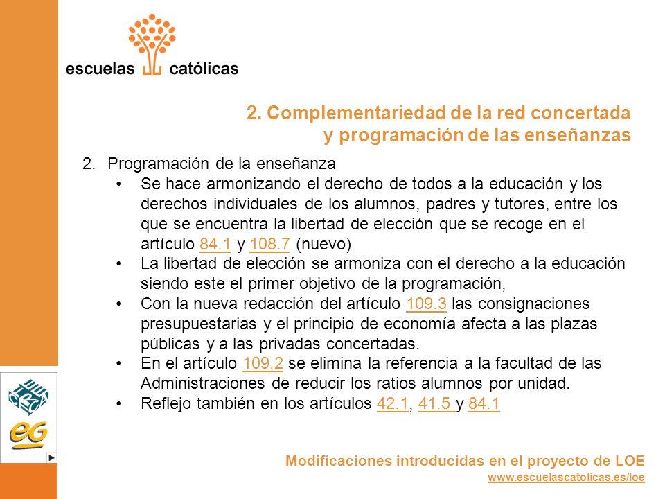 2. Complementariedad de la red concertada y programación de las enseñanzas