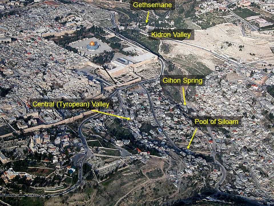 Temple Mount and City of David aerial from southwest
