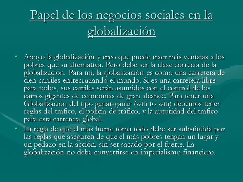 Papel de los negocios sociales en la globalización