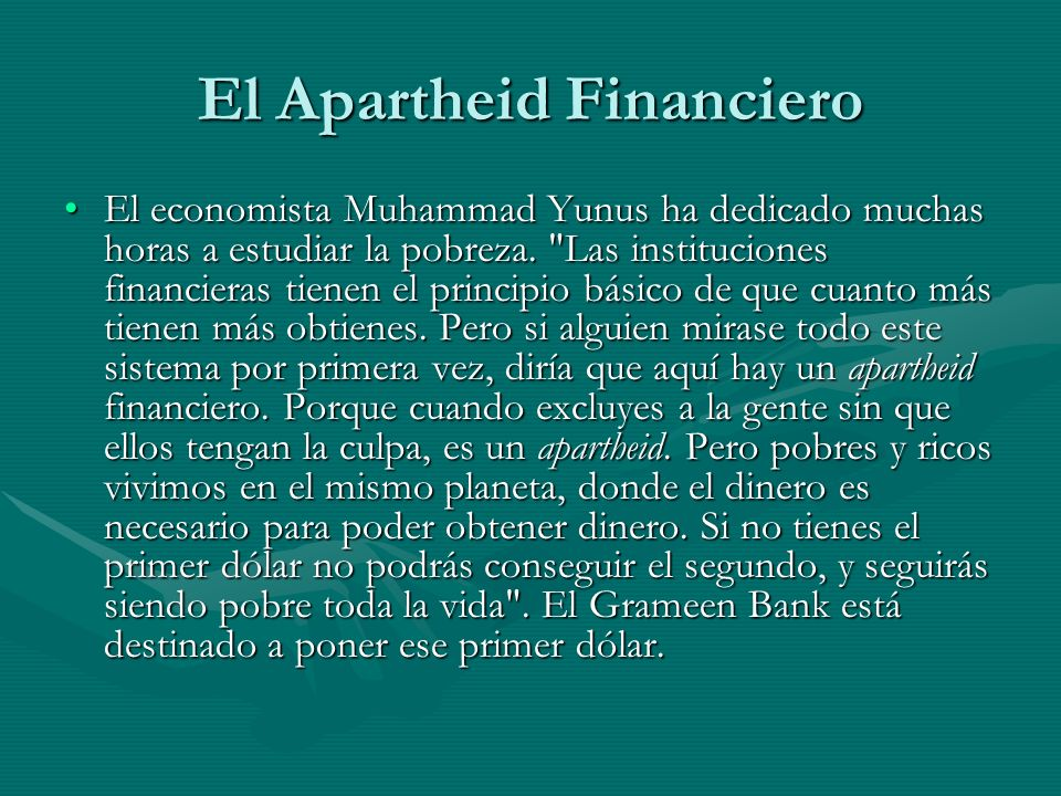 El Apartheid Financiero