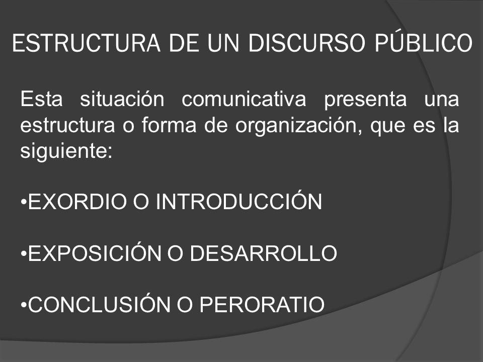 ESTRUCTURA DE UN DISCURSO PÚBLICO
