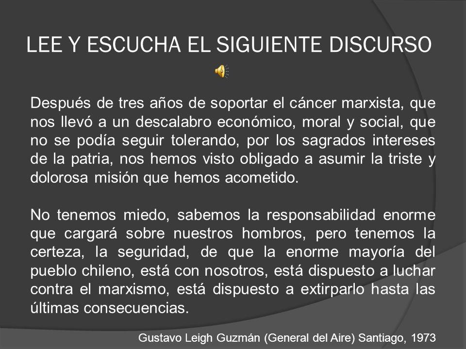 LEE Y ESCUCHA EL SIGUIENTE DISCURSO