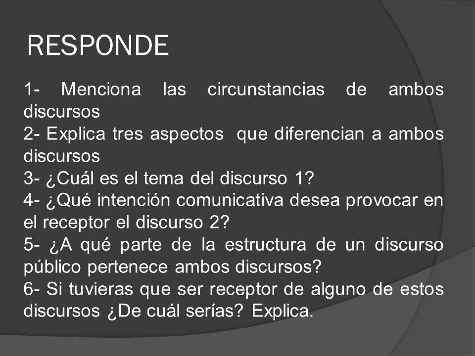 RESPONDE 1- Menciona las circunstancias de ambos discursos