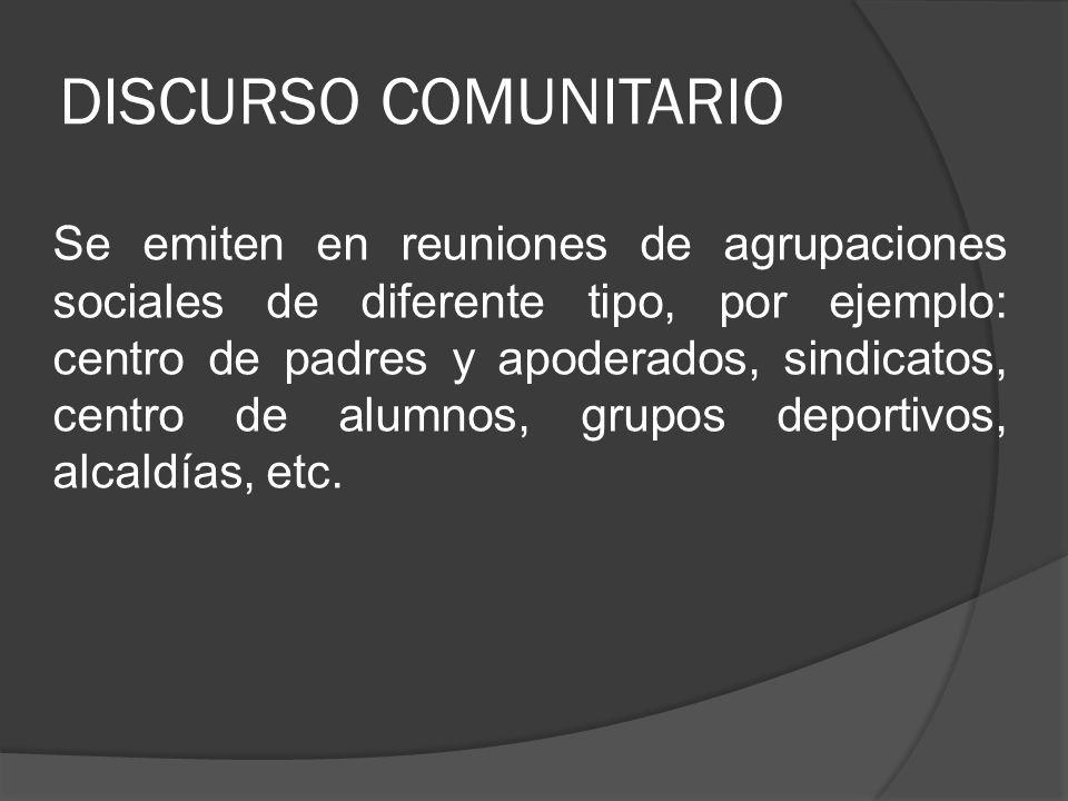 DISCURSO COMUNITARIO