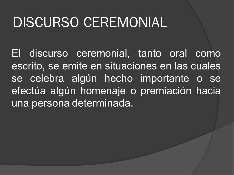 DISCURSO CEREMONIAL
