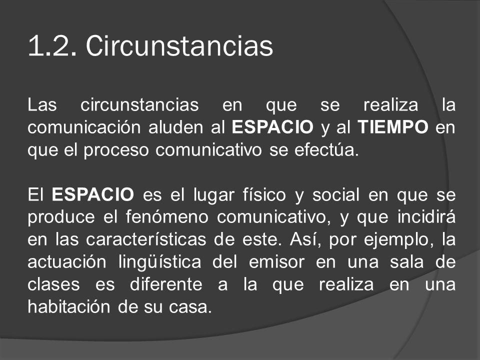 1.2. Circunstancias Las circunstancias en que se realiza la comunicación aluden al ESPACIO y al TIEMPO en que el proceso comunicativo se efectúa.