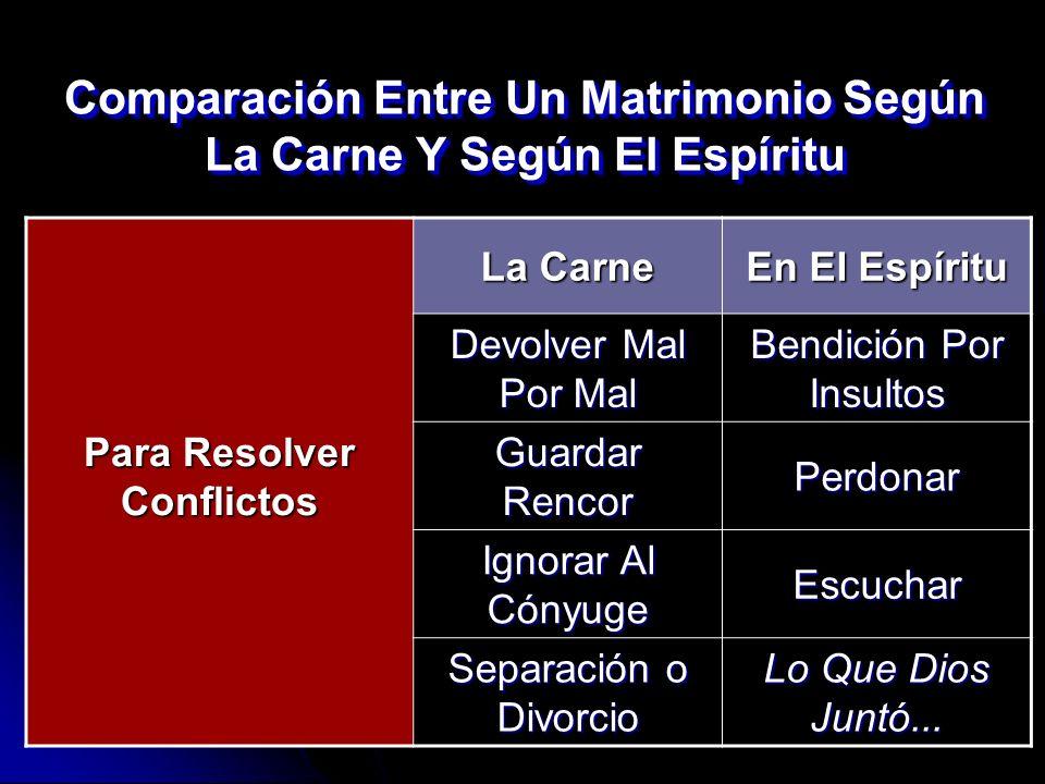 Comparación Entre Un Matrimonio Según La Carne Y Según El Espíritu