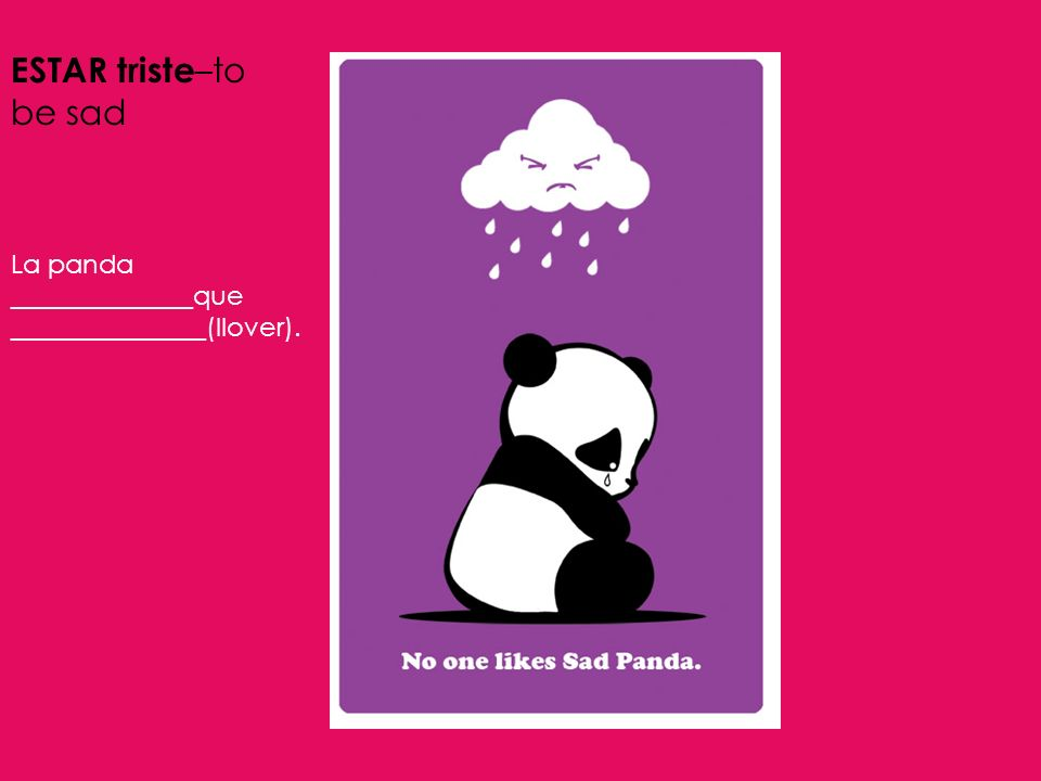 ESTAR triste–to be sad La panda ______________que _______________(llover).