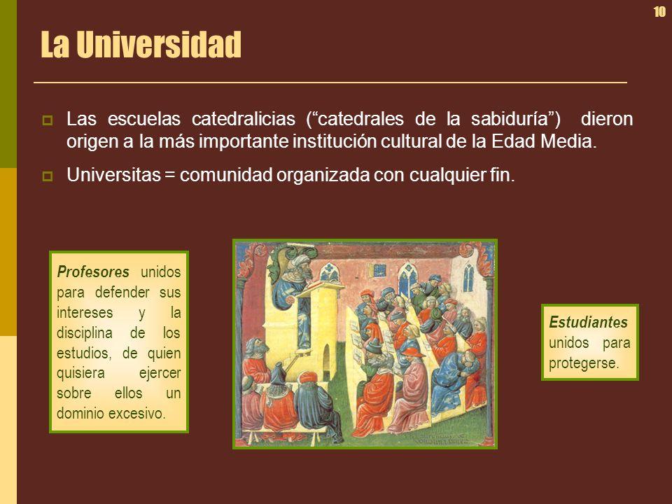 La Universidad Las escuelas catedralicias ( catedrales de la sabiduría ) dieron origen a la más importante institución cultural de la Edad Media.