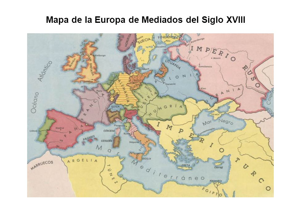 Mapa de la Europa de Mediados del Siglo XVIII
