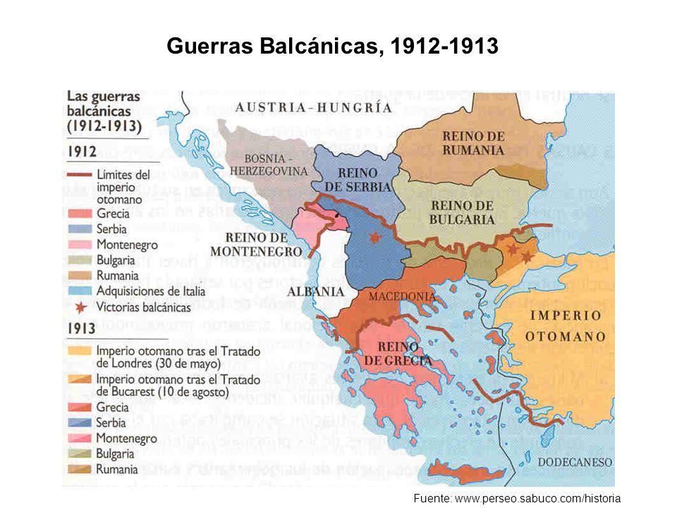 Guerras Balcánicas, 1912-1913 Fuente: www.perseo.sabuco.com/historia