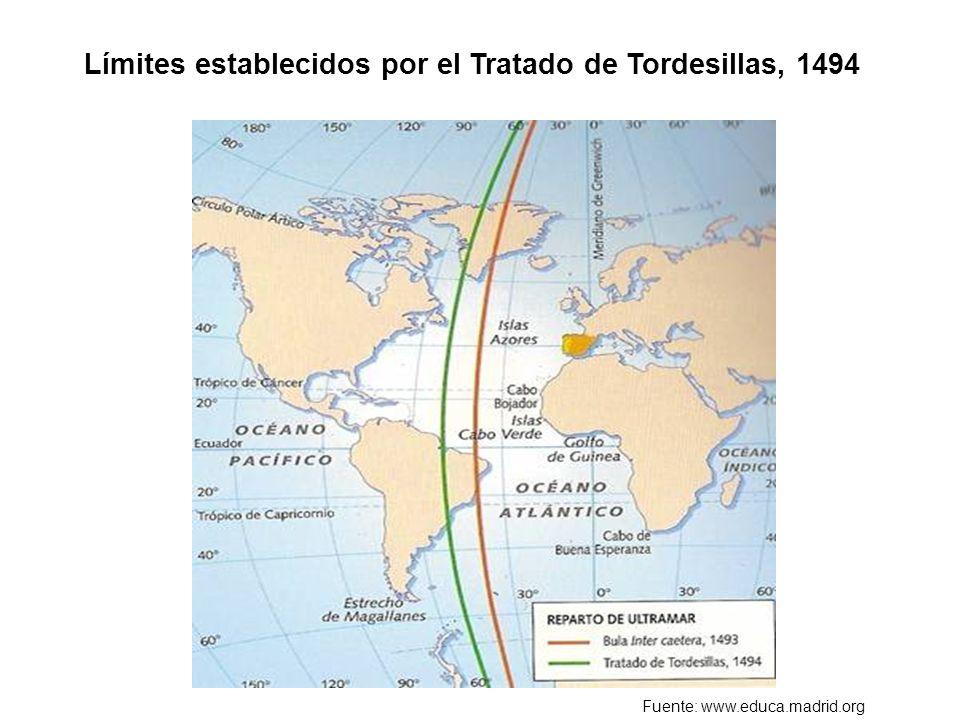 Límites establecidos por el Tratado de Tordesillas, 1494