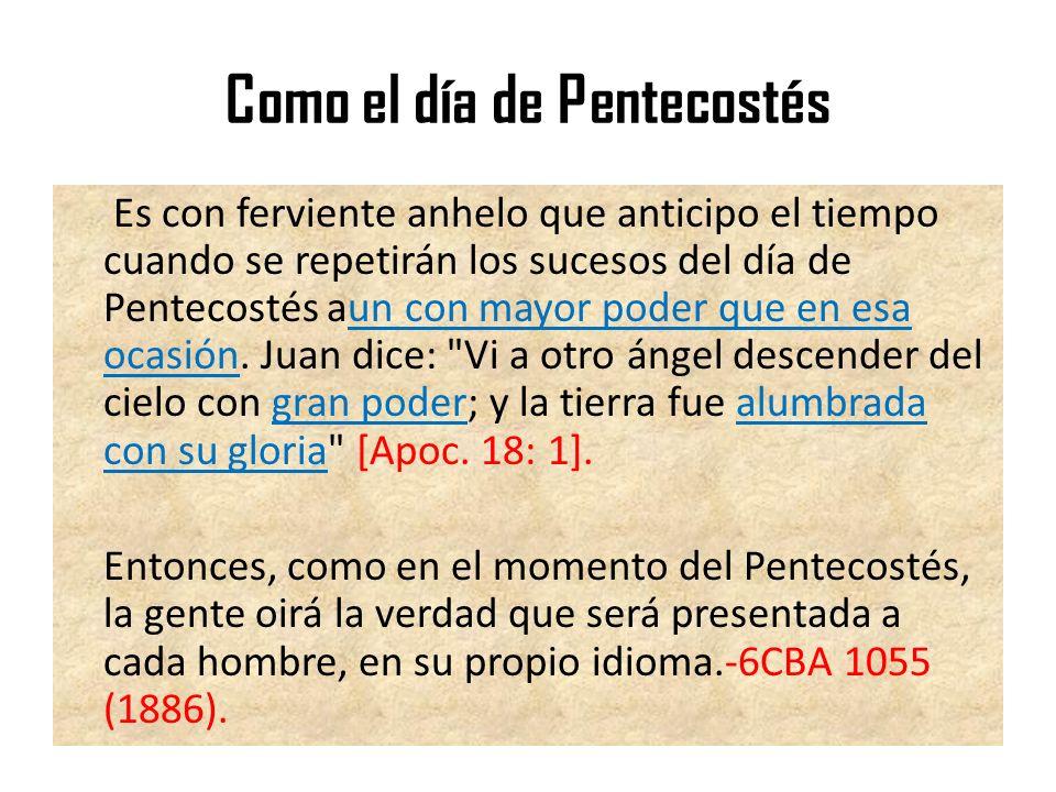 Como el día de Pentecostés